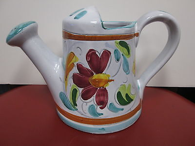 """VINTAGE - ITALIAN POTTERY WATERING CAN - HAND PAINTED - MADE IN ITALY - 6"""" TALL"""