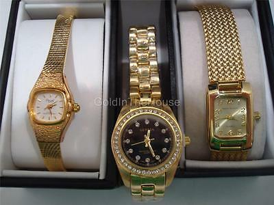 New Women's Gold Tone Quartz Watch Lot - GENEVA PICUET HARVE BERNARD