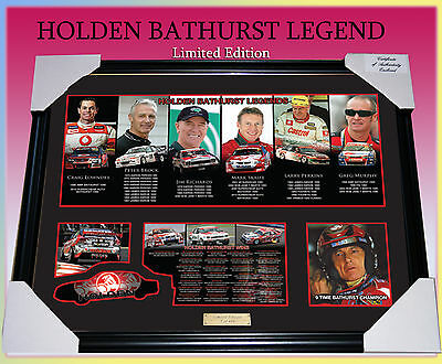 HOLDEN BATHURST LEGENDS CAR RACING MEMORABILIA FRAME LIMITED EDITION w/ C.O.A