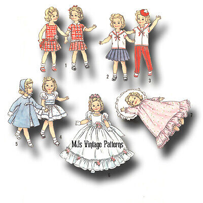 "Vtg 1950s Doll Clothes Pattern ~ 12"" Shirley Temple Formal Dress Sailor outfits"