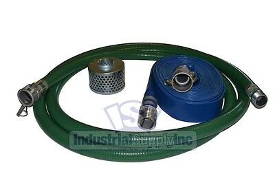 "2"" Green PVC Mud Suction Hose Trash Camlock Kit w/75' Discharge Hose (FS)"