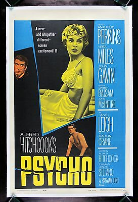 PSYCHO *CineMasterpieces HORROR ORIGINAL HITCHCOCK MOVIE POSTER JANET LEIGH 1960