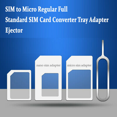 Nano SIM to Micro Regular Full Standard SIM Card Converter Tray Adapter+Ejector