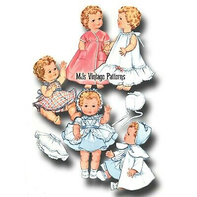 """Vtg Baby Doll Clothes Dress Coat Pajamas Pattern ~ 24/"""" 25/"""" 26/"""" for Toodles"""