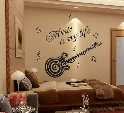 Music is my life Wall Quotes decals Removable stickers decor Vinyl home art