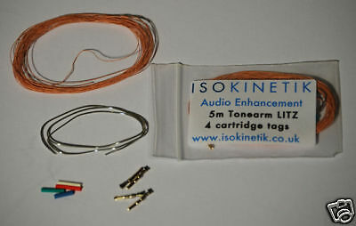 Isokinetik Litz Tonearm Rewire Kit 5M With Cartridge Tags / Clips