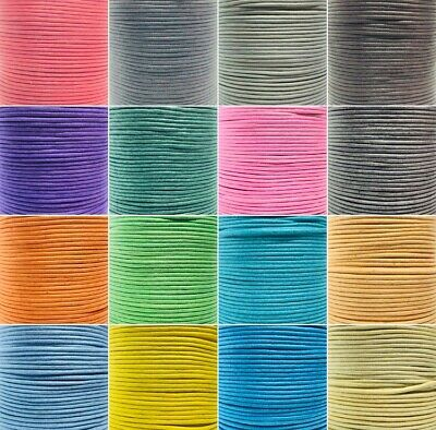 Waxed Cotton Thong Cord 2mm String Thread 16 Colours Jewellery Craft