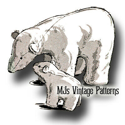 Vintage Stuffed Polar Bears ~ Winter, Christmas Pattern