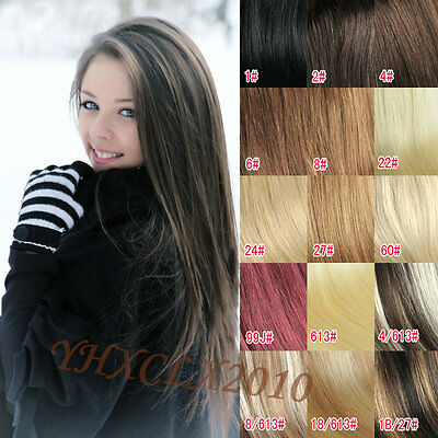 Black Brown Blonde Red clip in on Real Human Hair Extensions 70G18inch/45cm