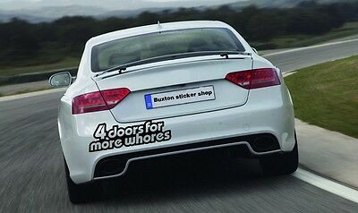 4 door for more whores funny sticker  Decal Dub Sticker Drift Lowered Jap vag vw