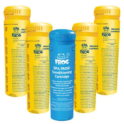 Spa Frog 4 x Bromine 1 x Mineral Cartridge for Dispenser System  Pool Hot tub