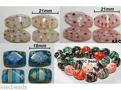 Clear Blue Mixed Colours/ Flowers OVAL FACETED ROUND Millefiori 15mm 18mm 21mm