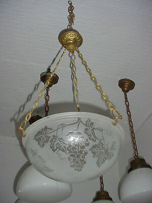 Great Antique Galle Style Dome Shade Light Fixture w/ Fancy Brass Hanger 5599