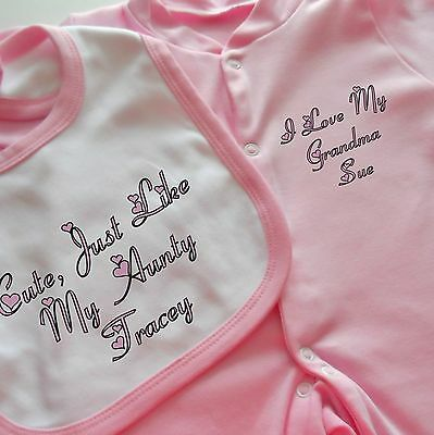 Beautiful PERSONALISED baby girls clothing pink babygrow & bib ** ANY SLOGAN **