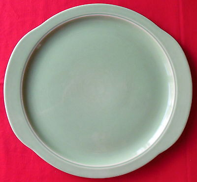 Universal Potteries Camwood Ivory Tab Handled Cake Plate Jade Green