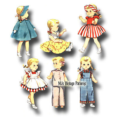 """Vtg Doll Clothes Pattern ~ 16"""" 17"""" Saucy Walker Dress Pinafore Overalls Pajamas"""