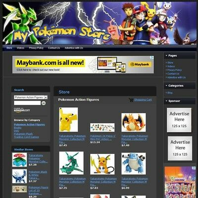 POKEMON TOYS STORE - Affiliate Website Business For Sale, Free Domain + Hosting!