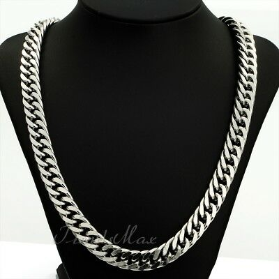 "Mens Necklace Silver Tone Stainless Steel Chain Rombo Curb Cuban Link 18""-36"""