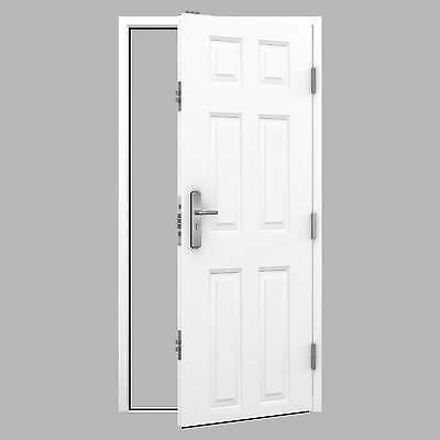 Steel Security Panelled Door Set with 15 Point Locking System and Lever Handles