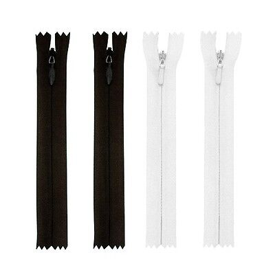 "Zips Invisible/Concealed Nylon X5 - (9"" To 12"") Black Or White, Free P&P"