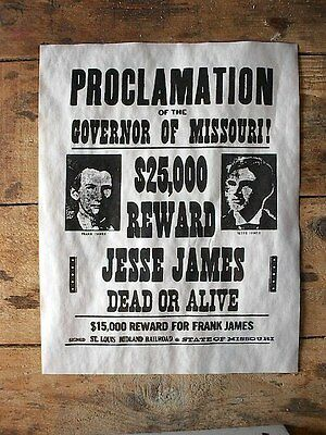 """(569L) OLD WEST OUTLAW JESSE JAMES $25,000 REWARD WANTED REPLICA POSTER 11""""x14"""""""