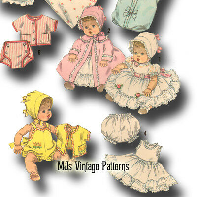 "Vtg 50s Baby Doll Dress Bonnet Pattern ~ 13"" 14"" Betsy Wetsy, Tiny Tears, Dy Dee"