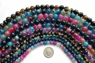 "15"" Strand Fire Agate Faceted Round Beads Gemstone Semi Preious Stone 6 8 10mm"