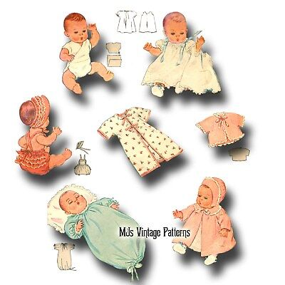 "Vintage Baby Doll Clothes Pattern ~ 18"" 19"" Dy Dee, Tiny Tears, Betsy Wetsy"