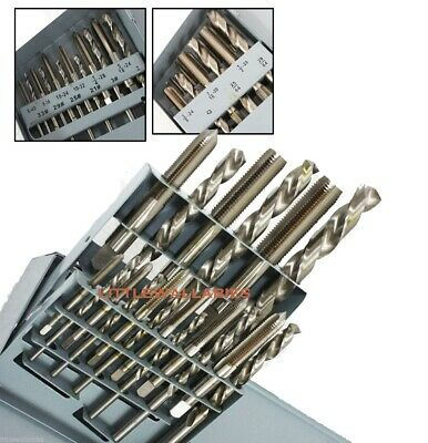 18 PC UNF TAP AND DRILL BIT SET HSS HIGH SPEED STEEL TOOLS w/ CASE