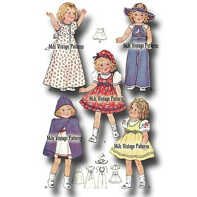 """Vtg 30s Shirley Temple HEIDI Doll Clothes Pattern ~ 20"""", 19"""" Patsy Ann, Compo"""