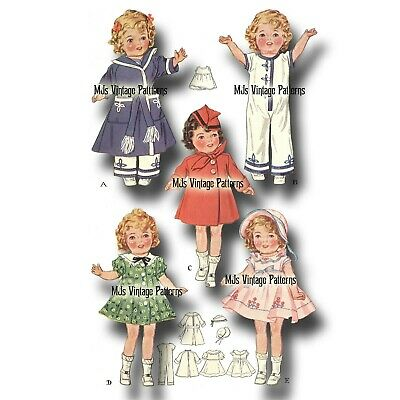 """Vtg 30s Shirley Temple Doll Clothes Dress Pattern ~ 20"""", 19"""" Patsy Ann, Compo"""