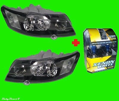 Black Head Lights & H4 Blue GLOBES Halogen for Holden Commodore VY SS Right Left