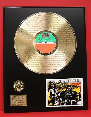 """Led Zeppelin Gold Lp Record W/lyrics Display Actually Plays """"stairway To Heaven"""""""