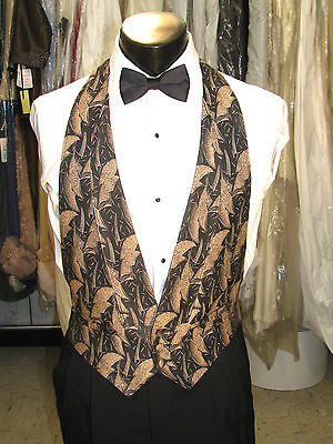 Mens Formal Vest Tan And Black Size Large Include Bow Tie