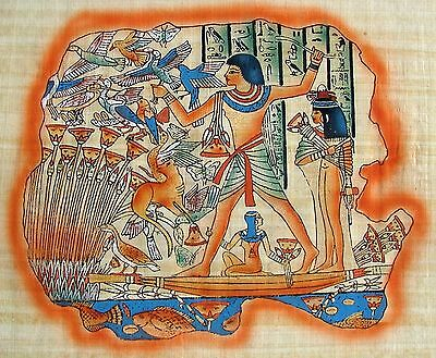 """Egyptian Hand-painted Papyrus Artwork: Lord Menna Hunting 17"""" x 13.5"""" IMPORTED"""