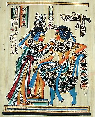 Egyptian Hand-painted Papyrus: King Tut & Wife Scene from Golden Shrine IMPORTED