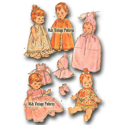 """Vtg 60s Doll Clothes Pattern ~ 8"""" 8.5"""" 9"""" Baby Pebbles, Ginny Baby, Ginnette"""