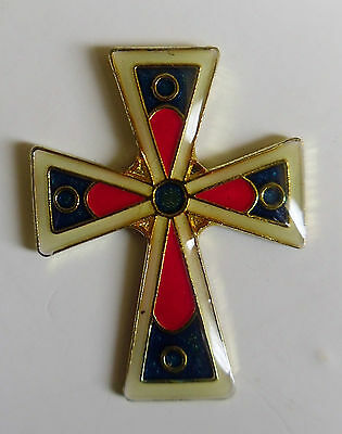 Red & Blue Cross Jesus Lapel Pin Christianity Religious Hat pin Tie Tac Church