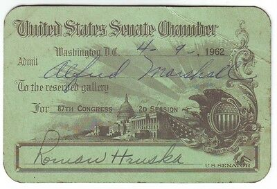 1962 Senate Pass 87th Congress Signed Senator Roman Hruska Nebraska