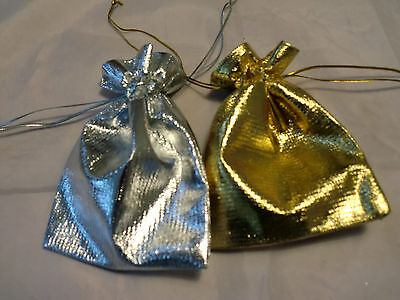 Gold & Silver Organza Gift Bags / Pouches For Wedding Gift Jewellery Packing