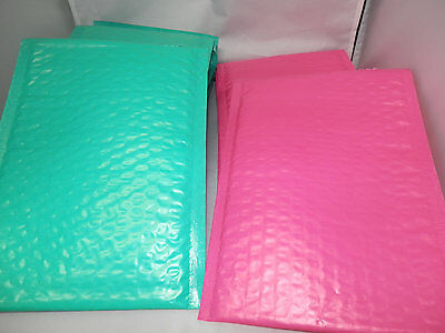 100 Hot Pink and Teal 6x9 Poly Bubble Mailers, Wholesale Colored Mailers #0