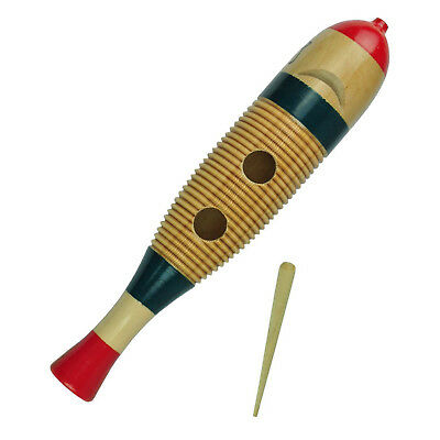 New Drumfire Fish Style Wooden Guiro Hand Percussion