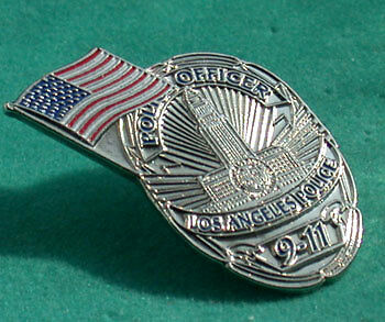LAPD 9-11 COMMEMORATIVE BADGE PIN WITH US FLAG