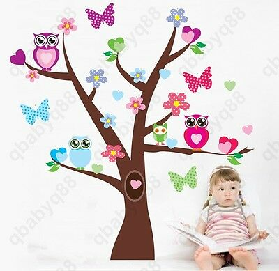 Owl Hoot Butterfly Flower Heart Tree Wall Decals Stickers Decor kids baby Mural