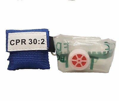 50 Blue CPR Mask Keychain Face Shield key Chain Disposable imprinted CPR 30:2