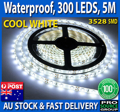 5M Cool White 3528 SMD 300 LED Flexible Waterproof 12V Led Strip Lights Car Boat