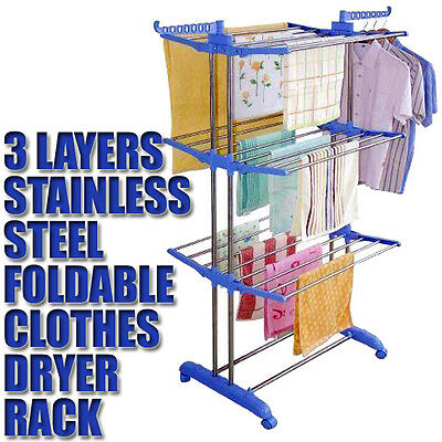 Stainless Steel Clothes Rack Hanger Drying Portable Garment Clothesline Dryer
