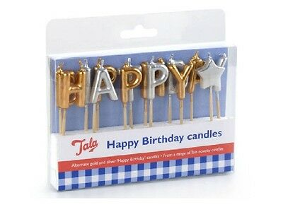 Deluxe Gold And Silver Happy Birthday Cake Candles Party Decoration Boy Girl