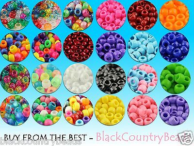 100/500/1000 - PONY BEADS 9X6mm by THE BEADERY USA - Opaque/Trans/Glitter/Pearl