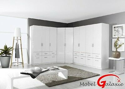 eck schrank modena kleiderschrank wei hochglanz mit spiegel. Black Bedroom Furniture Sets. Home Design Ideas